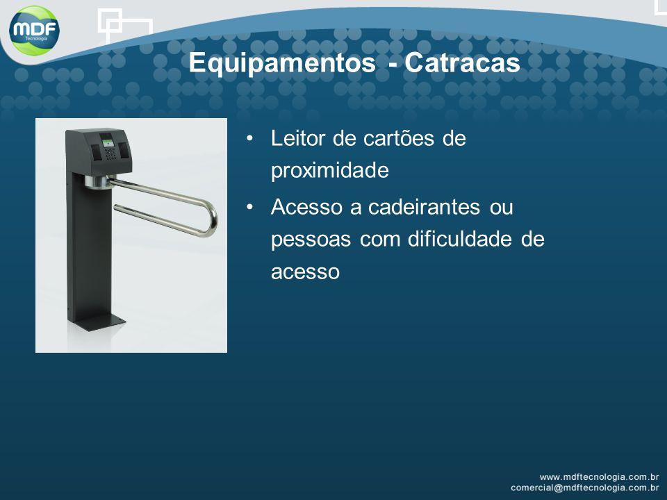 Equipamentos - Catracas Leitor de cartões de proximidade Acesso a cadeirantes ou pessoas com dificuldade de acesso