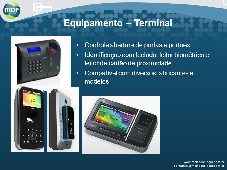 Equipamento – Terminal Controle abertura de portas e portões Identificação com teclado, leitor biométrico e leitor de cartão de proximidade Compatível com diversos fabricantes e modelos