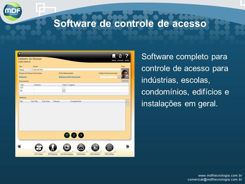 Software de controle de acesso Software completo para controle de acesso para indústrias, escolas, condomínios, edifícios e instalações em geral.