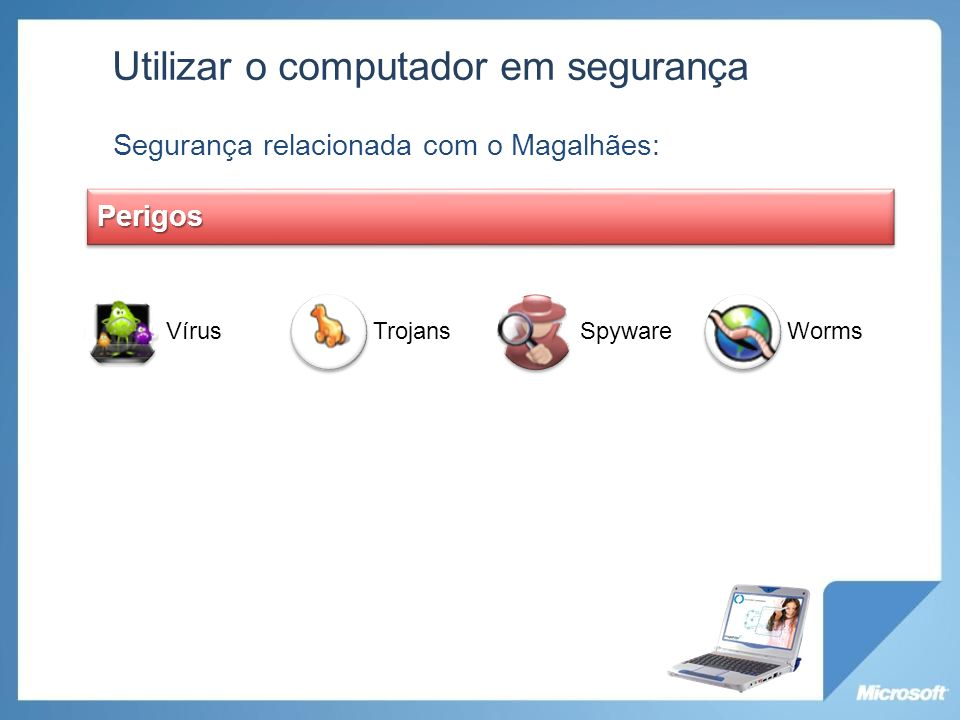 VírusTrojansSpywareWorms Utilizar o computador em segurança Segurança relacionada com o Magalhães: Perigos