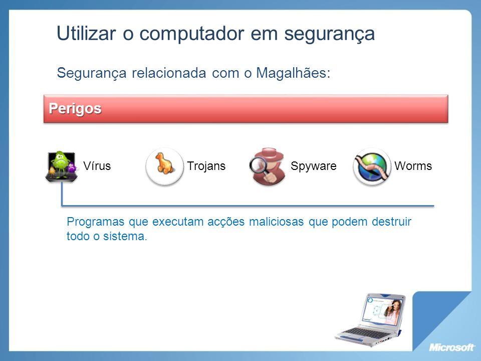 VírusTrojansSpywareWorms Utilizar o computador em segurança Segurança relacionada com o Magalhães: Perigos Programas que executam acções maliciosas qu