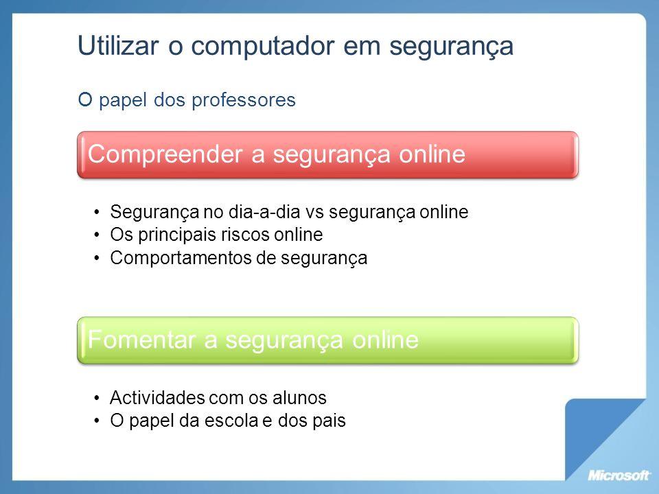Utilizar o computador em segurança O papel dos professores Compreender a segurança online Segurança no dia-a-dia vs segurança online Os principais ris