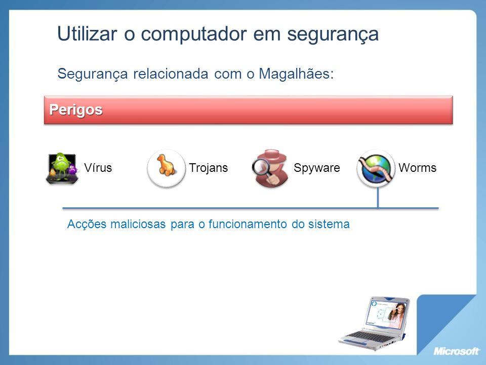 Utilizar o computador em segurança Segurança relacionada com o Magalhães: VírusTrojansSpywareWormsPerigos Acções maliciosas para o funcionamento do si