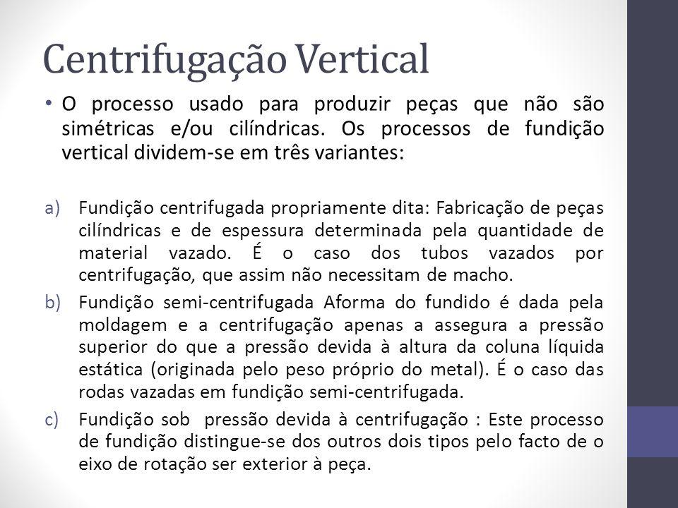 Centrifugação Vertical O processo usado para produzir peças que não são simétricas e/ou cilíndricas. Os processos de fundição vertical dividem-se em t