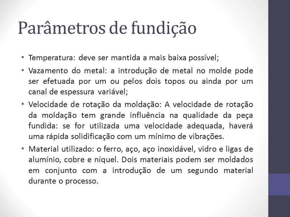 Parâmetros de fundição Temperatura: deve ser mantida a mais baixa possível; Vazamento do metal: a introdução de metal no molde pode ser efetuada por u