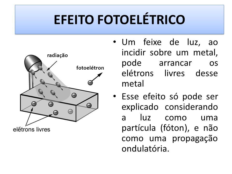 EFEITO FOTOELÉTRICO Um feixe de luz, ao incidir sobre um metal, pode arrancar os elétrons livres desse metal Esse efeito só pode ser explicado conside
