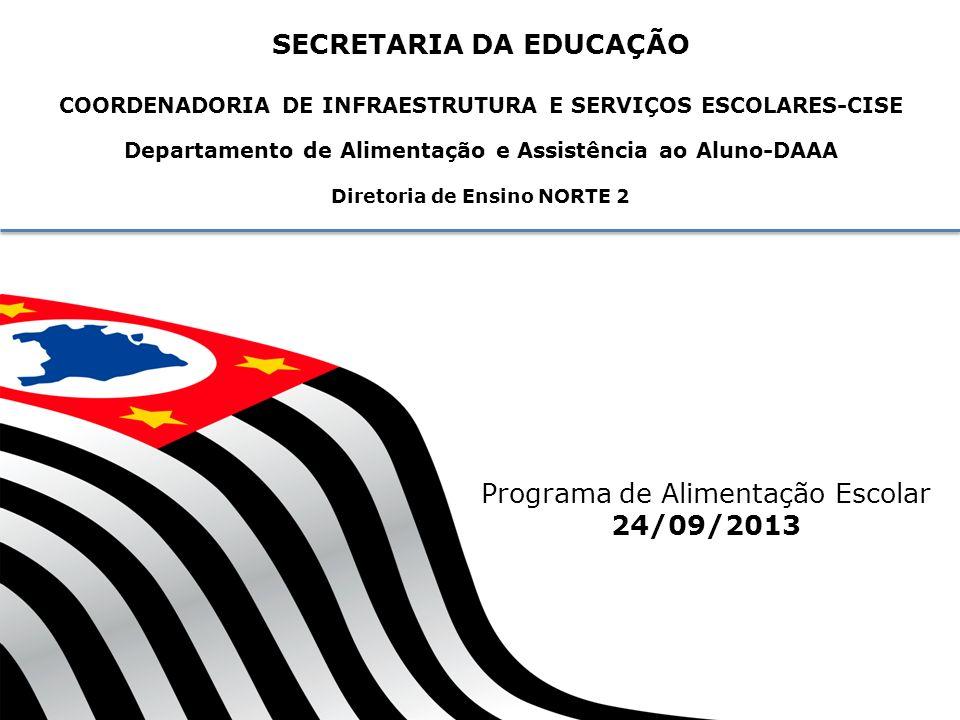 SECRETARIA DA EDUCAÇÃO COORDENADORIA DE INFRAESTRUTURA E SERVIÇOS ESCOLARES-CISE Departamento de Alimentação e Assistência ao Aluno-DAAA Diretoria de Ensino NORTE 2 Programa de Alimentação Escolar 24/09/2013