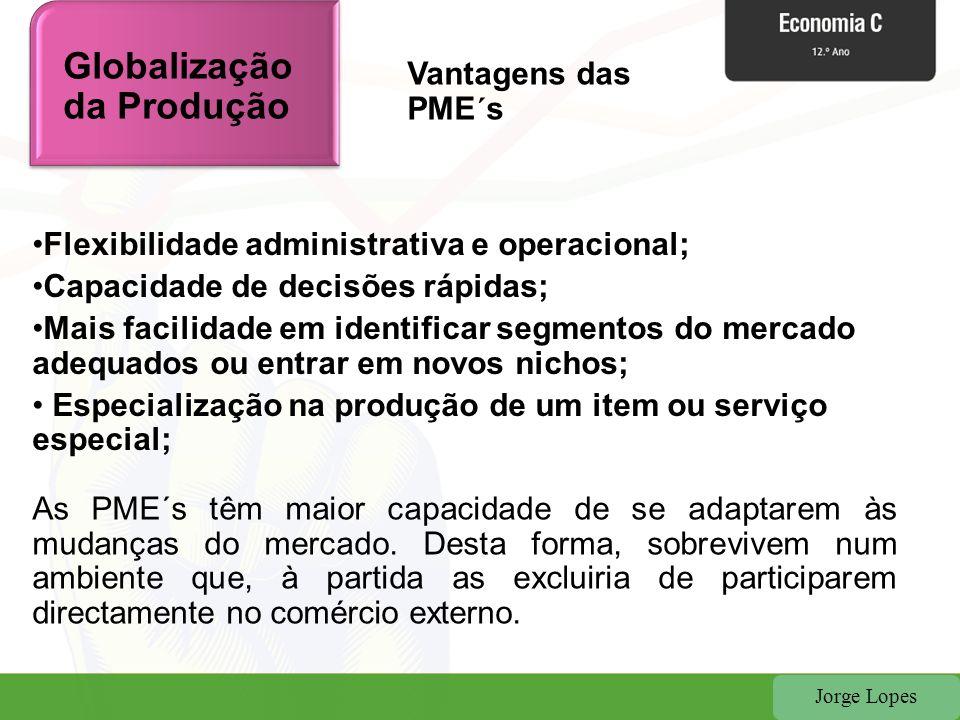 Jorge Lopes Flexibilidade administrativa e operacional; Capacidade de decisões rápidas; Mais facilidade em identificar segmentos do mercado adequados ou entrar em novos nichos; Especialização na produção de um item ou serviço especial; As PME´s têm maior capacidade de se adaptarem às mudanças do mercado.