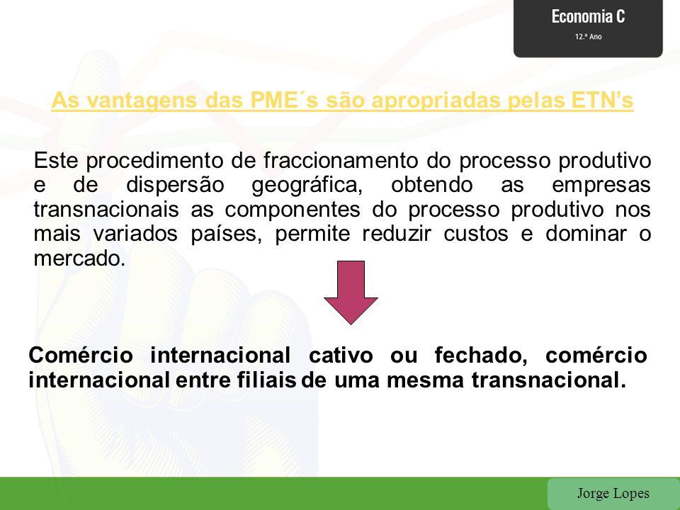 Jorge Lopes As vantagens das PME´s são apropriadas pelas ETNs Este procedimento de fraccionamento do processo produtivo e de dispersão geográfica, obt