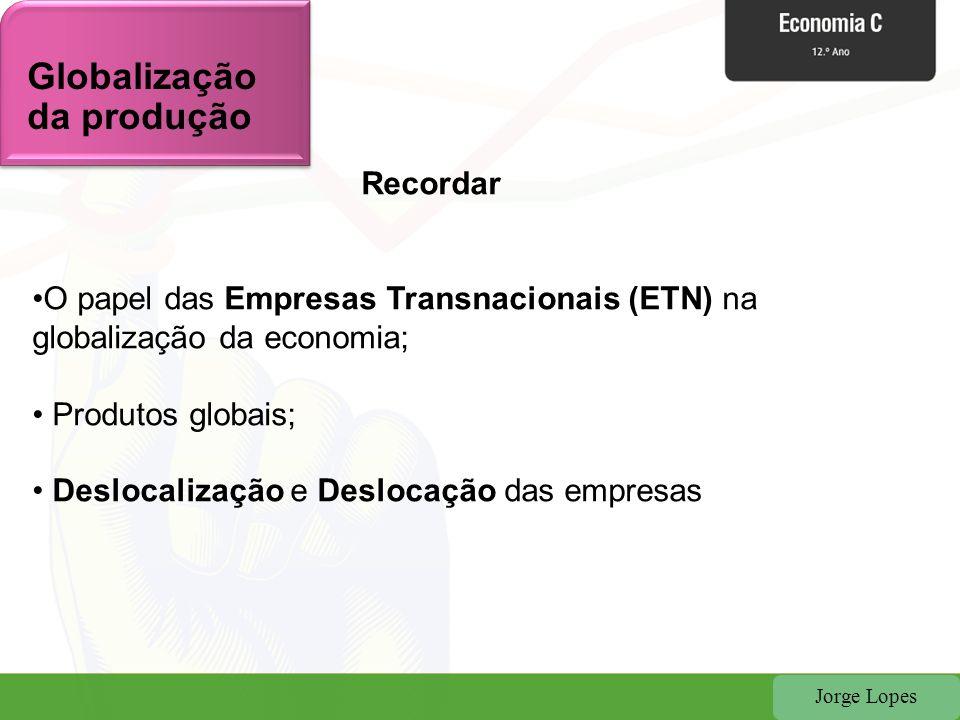 Jorge Lopes Recordar O papel das Empresas Transnacionais (ETN) na globalização da economia; Produtos globais; Deslocalização e Deslocação das empresas