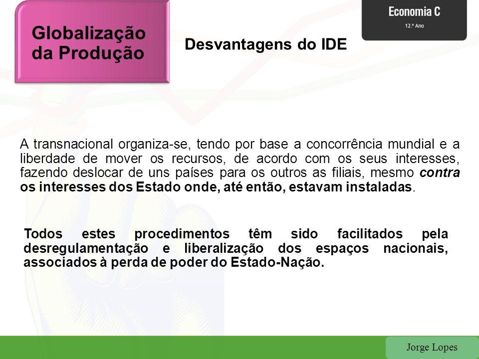 Jorge Lopes Globalização da Produção A transnacional organiza-se, tendo por base a concorrência mundial e a liberdade de mover os recursos, de acordo