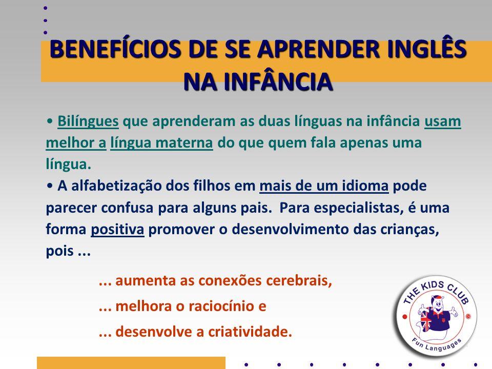 BENEFÍCIOS DE SE APRENDER INGLÊS NA INFÂNCIA Bilíngues que aprenderam as duas línguas na infância usam melhor a língua materna do que quem fala apenas
