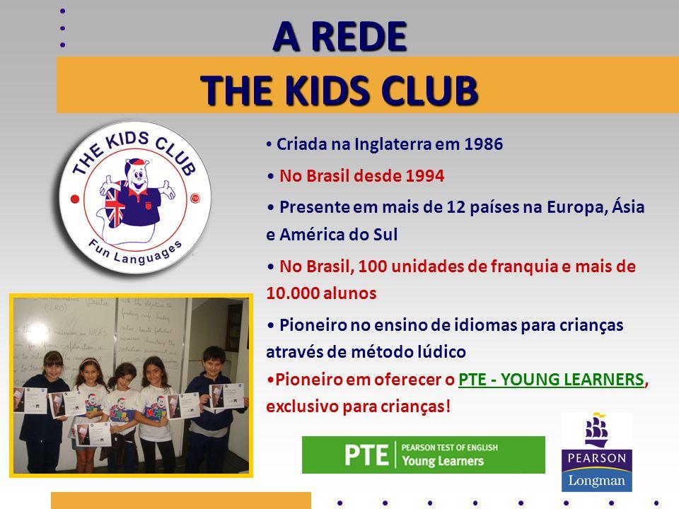 A REDE THE KIDS CLUB Criada na Inglaterra em 1986 No Brasil desde 1994 Presente em mais de 12 países na Europa, Ásia e América do Sul No Brasil, 100 u
