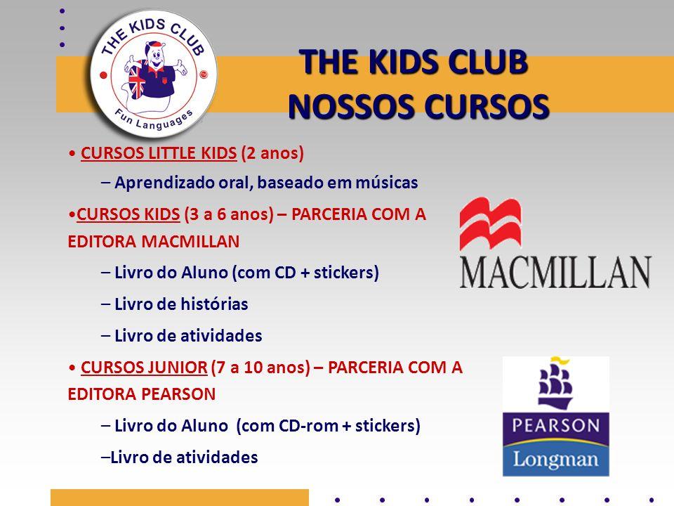 THE KIDS CLUB NOSSOS CURSOS CURSOS LITTLE KIDS (2 anos) – Aprendizado oral, baseado em músicas CURSOS KIDS (3 a 6 anos) – PARCERIA COM A EDITORA MACMI