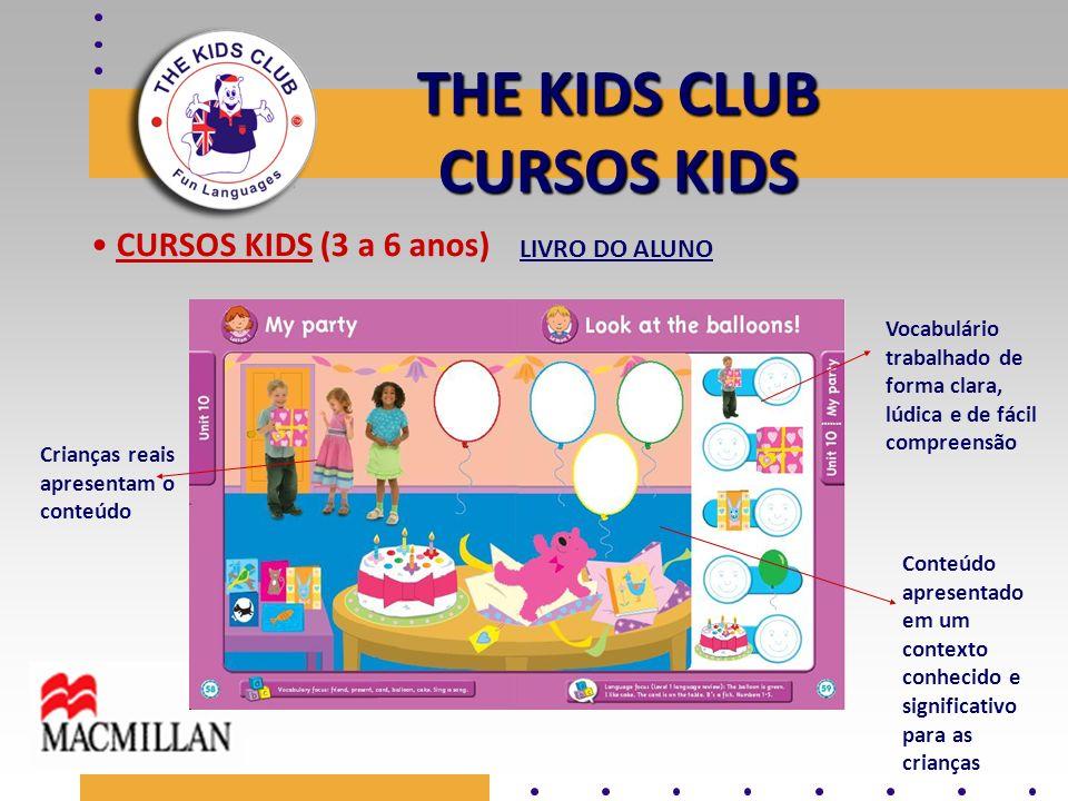 THE KIDS CLUB CURSOS KIDS CURSOS KIDS (3 a 6 anos) Crianças reais apresentam o conteúdo Conteúdo apresentado em um contexto conhecido e significativo