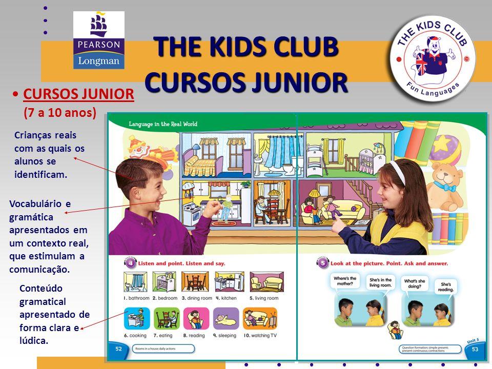 THE KIDS CLUB CURSOS JUNIOR CURSOS JUNIOR (7 a 10 anos) Conteúdo gramatical apresentado de forma clara e lúdica. Vocabulário e gramática apresentados