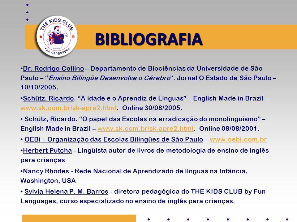 BIBLIOGRAFIA Dr. Rodrigo Collino – Departamento de Biociências da Universidade de São Paulo – Ensino Bilíngüe Desenvolve o Cérebro. Jornal O Estado de