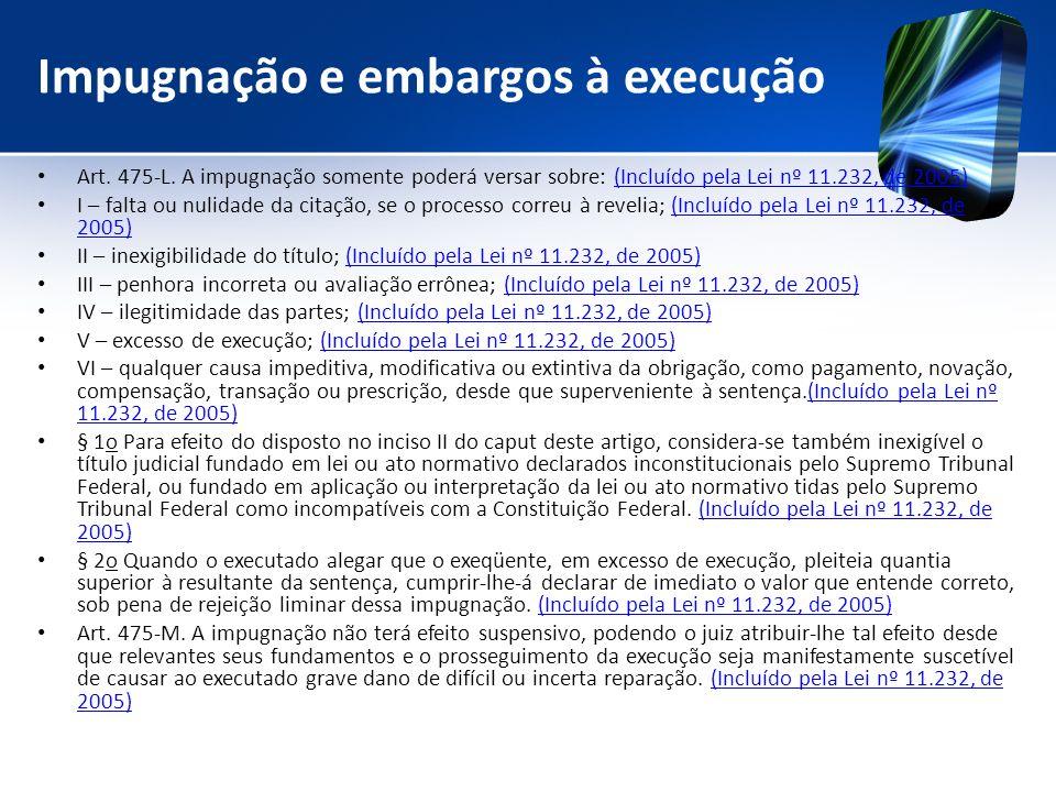 Impugnação e embargos à execução Art. 475-L. A impugnação somente poderá versar sobre: (Incluído pela Lei nº 11.232, de 2005)(Incluído pela Lei nº 11.
