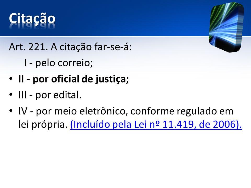 Art. 221. A citação far-se-á: I - pelo correio; II - por oficial de justiça; III - por edital. IV - por meio eletrônico, conforme regulado em lei próp