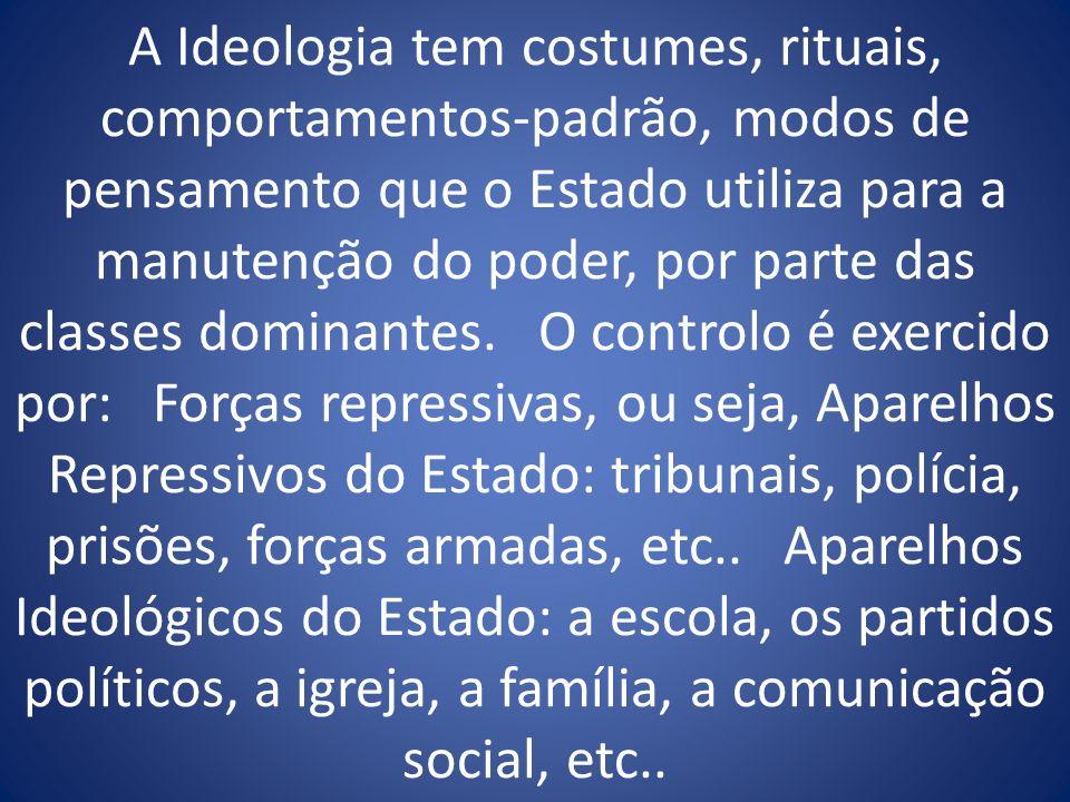 A Ideologia tem costumes, rituais, comportamentos-padrão, modos de pensamento que o Estado utiliza para a manutenção do poder, por parte das classes d