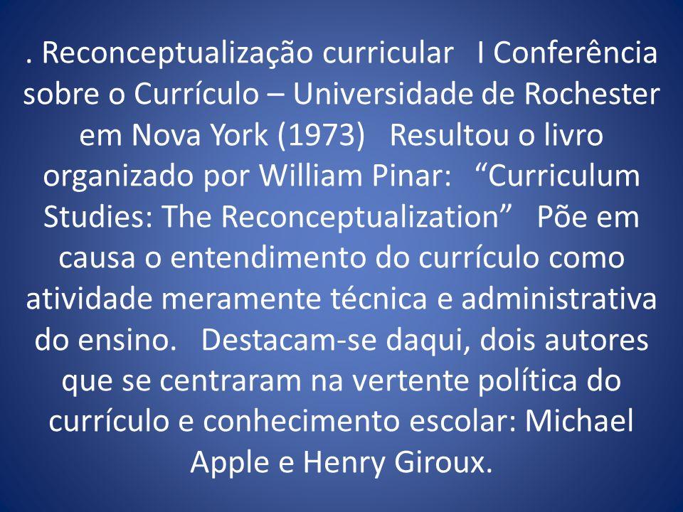 . Reconceptualização curricular I Conferência sobre o Currículo – Universidade de Rochester em Nova York (1973) Resultou o livro organizado por Willia