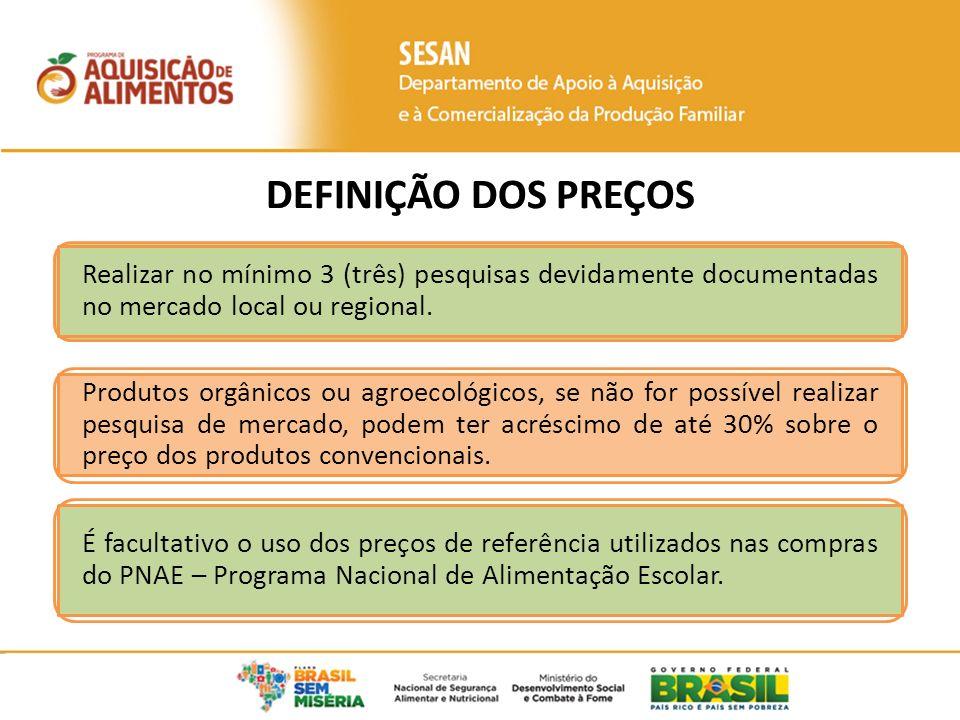 Realizar no mínimo 3 (três) pesquisas devidamente documentadas no mercado local ou regional. Produtos orgânicos ou agroecológicos, se não for possível