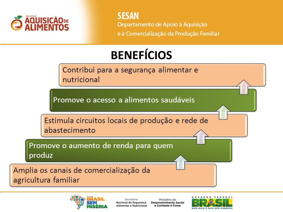 Amplia os canais de comercialização da agricultura familiar Promove o aumento de renda para quem produz Estimula circuitos locais de produção e rede de abastecimento Promove o acesso a alimentos saudáveis Contribui para a segurança alimentar e nutricional