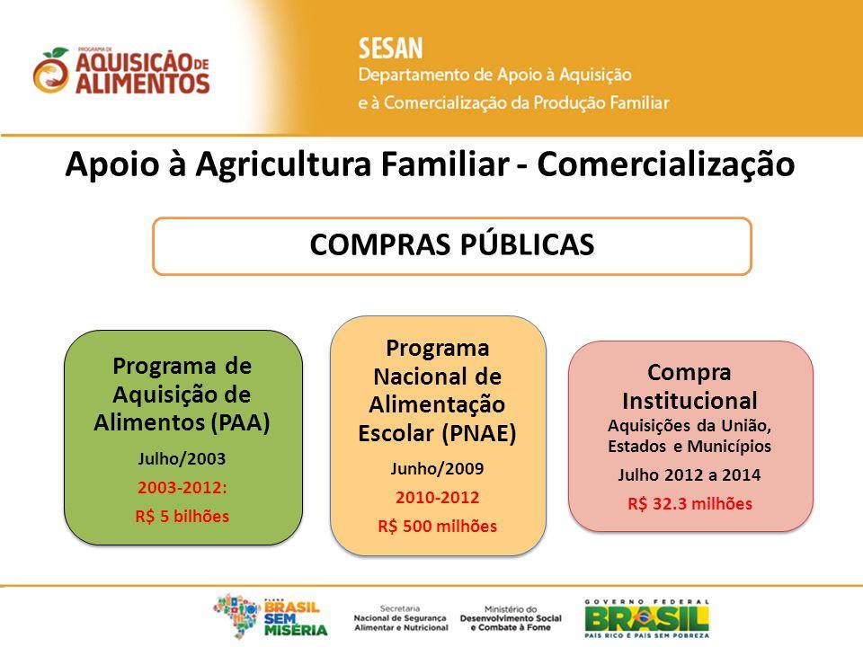 Apoio à Agricultura Familiar - Comercialização COMPRAS PÚBLICAS Programa de Aquisição de Alimentos (PAA) Julho/2003 2003-2012: R$ 5 bilhões Programa de Aquisição de Alimentos (PAA) Julho/2003 2003-2012: R$ 5 bilhões Programa Nacional de Alimentação Escolar (PNAE) Junho/2009 2010-2012 R$ 500 milhões Programa Nacional de Alimentação Escolar (PNAE) Junho/2009 2010-2012 R$ 500 milhões Compra Institucional Aquisições da União, Estados e Municípios Julho 2012 a 2014 R$ 32.3 milhões Compra Institucional Aquisições da União, Estados e Municípios Julho 2012 a 2014 R$ 32.3 milhões