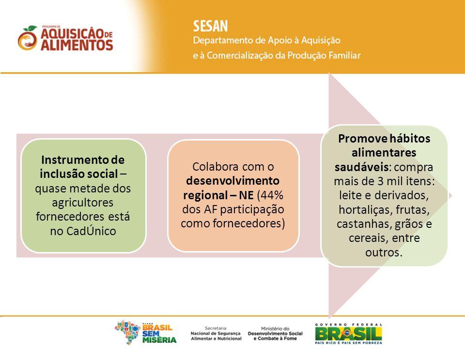 Fonte: PAADATA MDS/MDA (acesso em 09/08/2013) 4 milhões de toneladas de alimentos compradas desde 2003; Em 2013, mais de 185 mil agricultores familiares forneceram alimentos ao PAA.