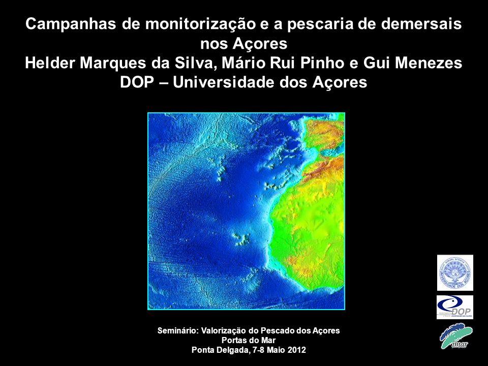1 Campanhas de monitorização e a pescaria de demersais nos Açores Helder Marques da Silva, Mário Rui Pinho e Gui Menezes DOP – Universidade dos Açores