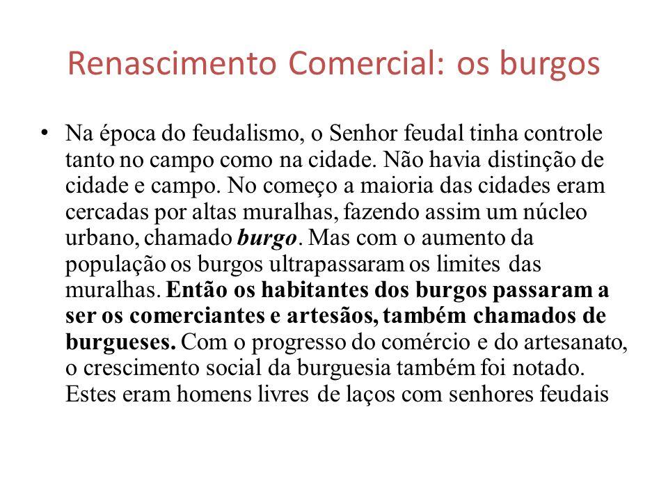 Renascimento Comercial: os burgos Na época do feudalismo, o Senhor feudal tinha controle tanto no campo como na cidade. Não havia distinção de cidade