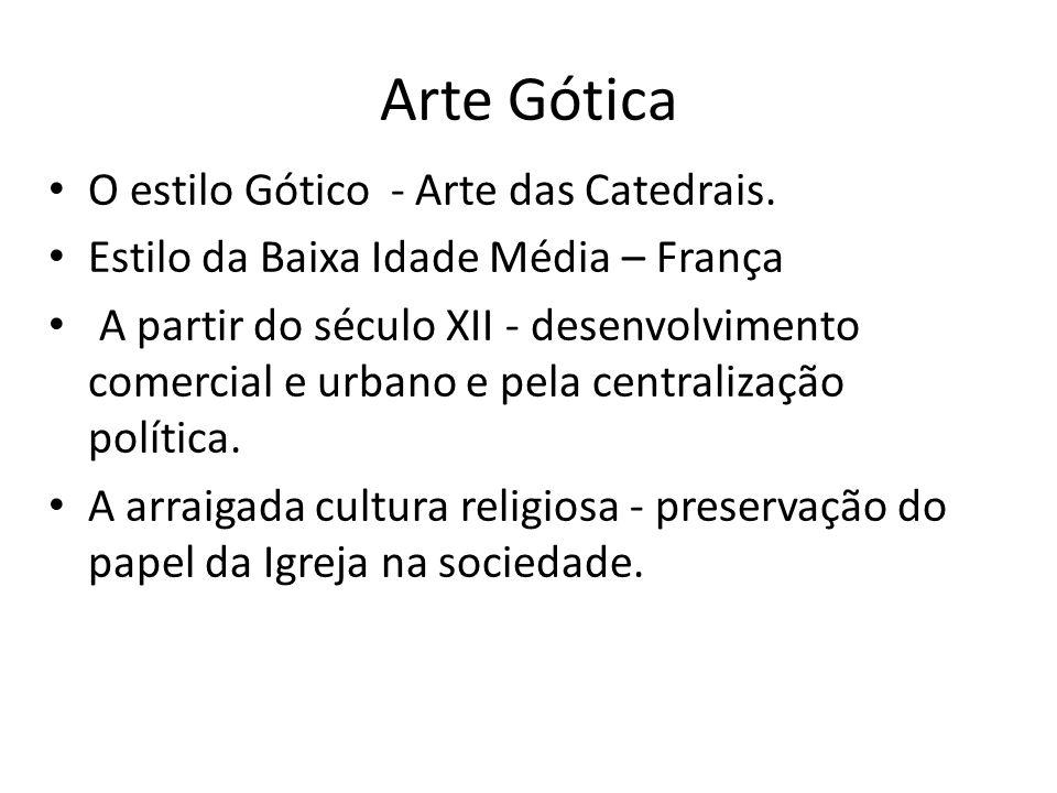Arte Gótica O estilo Gótico - Arte das Catedrais. Estilo da Baixa Idade Média – França A partir do século XII - desenvolvimento comercial e urbano e p