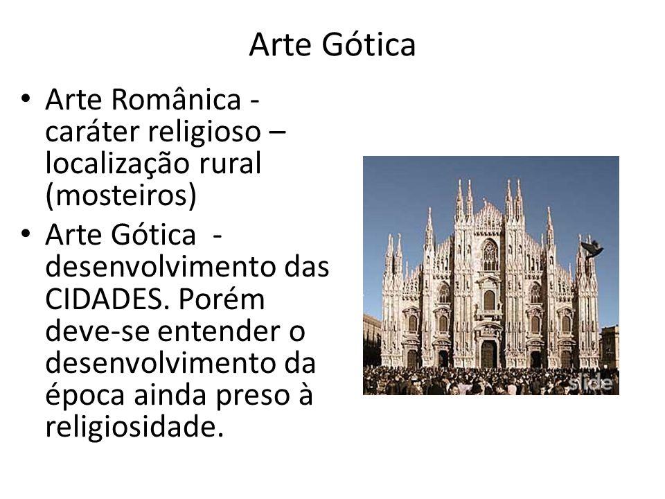 Arte Gótica Arte Românica - caráter religioso – localização rural (mosteiros) Arte Gótica - desenvolvimento das CIDADES. Porém deve-se entender o dese