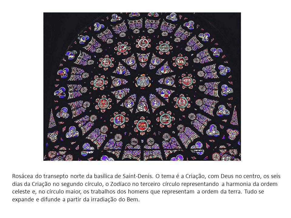 Rosácea do transepto norte da basílica de Saint-Denis. O tema é a Criação, com Deus no centro, os seis dias da Criação no segundo círculo, o Zodíaco n