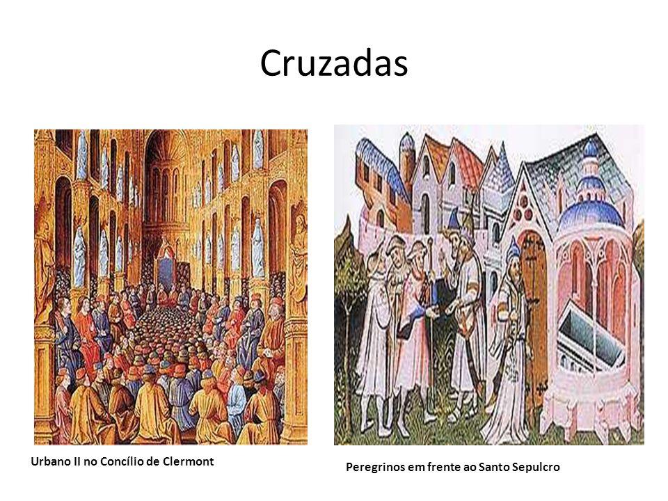 Cruzadas Urbano II no Concílio de Clermont Peregrinos em frente ao Santo Sepulcro
