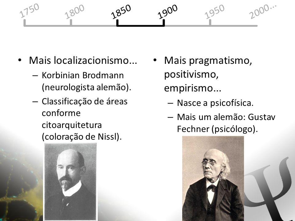 Mais localizacionismo... – Korbinian Brodmann (neurologista alemão). – Classificação de áreas conforme citoarquitetura (coloração de Nissl). Mais prag