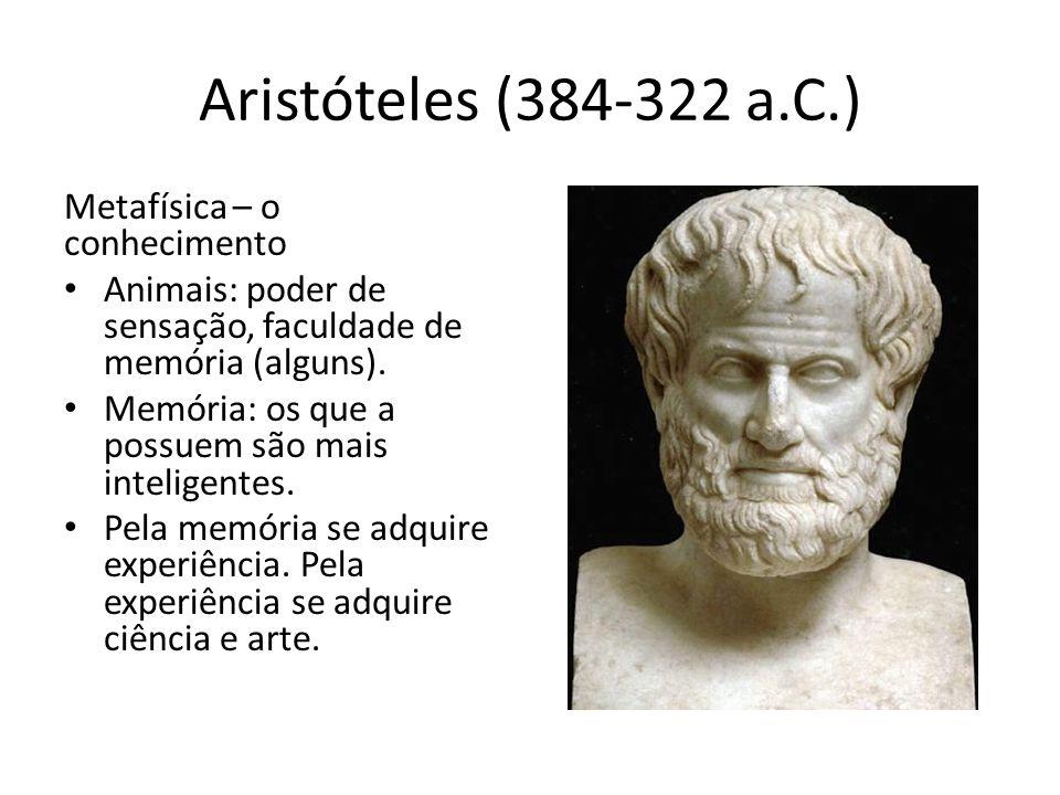 Aristóteles (384-322 a.C.) Metafísica – o conhecimento Animais: poder de sensação, faculdade de memória (alguns). Memória: os que a possuem são mais i