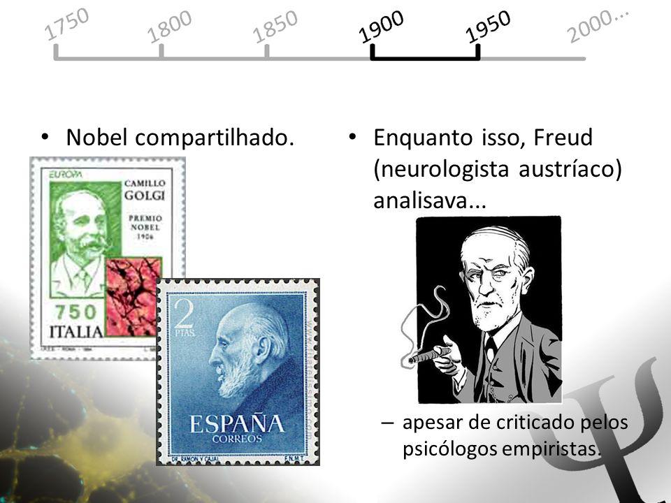 Nobel compartilhado. Enquanto isso, Freud (neurologista austríaco) analisava... – apesar de criticado pelos psicólogos empiristas.