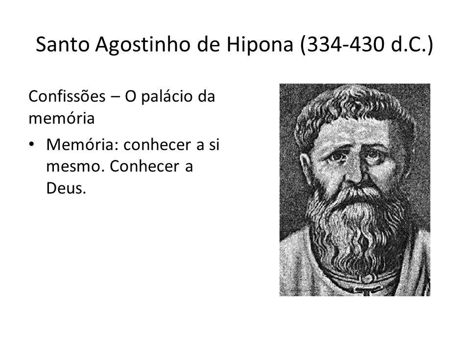 Santo Agostinho de Hipona (334-430 d.C.) Confissões – O palácio da memória Memória: conhecer a si mesmo. Conhecer a Deus.