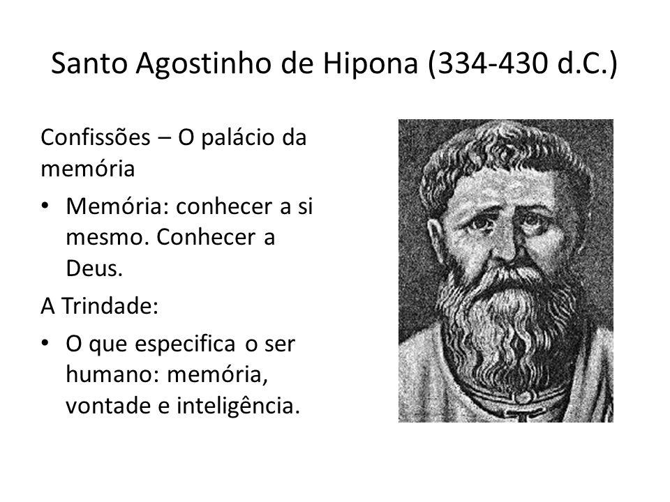 Santo Agostinho de Hipona (334-430 d.C.) Confissões – O palácio da memória Memória: conhecer a si mesmo. Conhecer a Deus. A Trindade: O que especifica