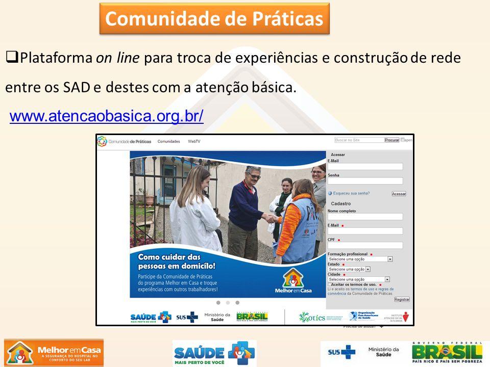 Plataforma on line para troca de experiências e construção de rede entre os SAD e destes com a atenção básica. www.atencaobasica.org.br/ Comunidade de