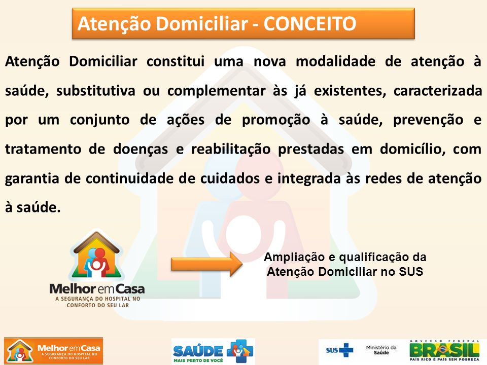 Atenção Domiciliar constitui uma nova modalidade de atenção à saúde, substitutiva ou complementar às já existentes, caracterizada por um conjunto de a