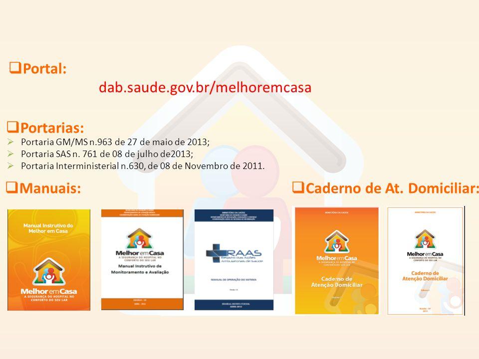 dab.saude.gov.br/melhoremcasa Manuais: Caderno de At. Domiciliar: Portal: Portarias: Portaria GM/MS n.963 de 27 de maio de 2013; Portaria SAS n. 761 d