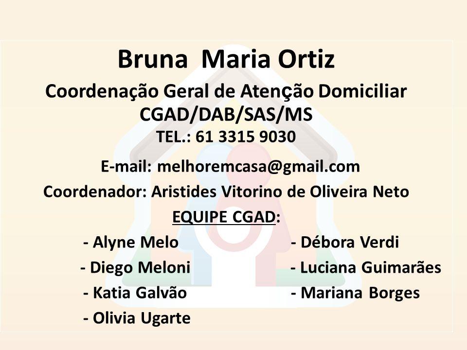 Bruna Maria Ortiz Coordenação Geral de Aten ç ão Domiciliar CGAD/DAB/SAS/MS TEL.: 61 3315 9030 E-mail: melhoremcasa@gmail.com Coordenador: Aristides V
