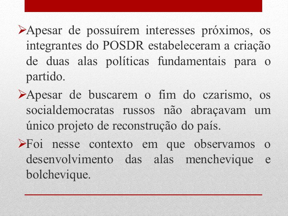 Apesar de possuírem interesses próximos, os integrantes do POSDR estabeleceram a criação de duas alas políticas fundamentais para o partido. Apesar de