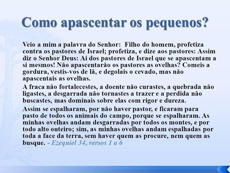 Veio a mim a palavra do Senhor: Filho do homem, profetiza contra os pastores de Israel; profetiza, e dize aos pastores: Assim diz o Senhor Deus: Ai do