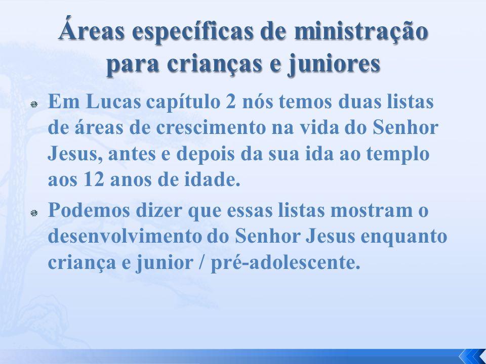 Em Lucas capítulo 2 nós temos duas listas de áreas de crescimento na vida do Senhor Jesus, antes e depois da sua ida ao templo aos 12 anos de idade. P