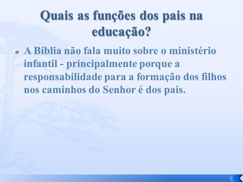 A Bíblia não fala muito sobre o ministério infantil - principalmente porque a responsabilidade para a formação dos filhos nos caminhos do Senhor é dos