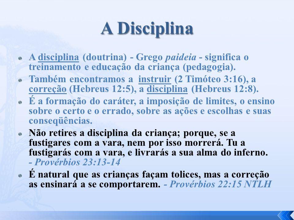 A disciplina (doutrina) - Grego paideia - significa o treinamento e educação da criança (pedagogia). Também encontramos a instruir (2 Timóteo 3:16), a