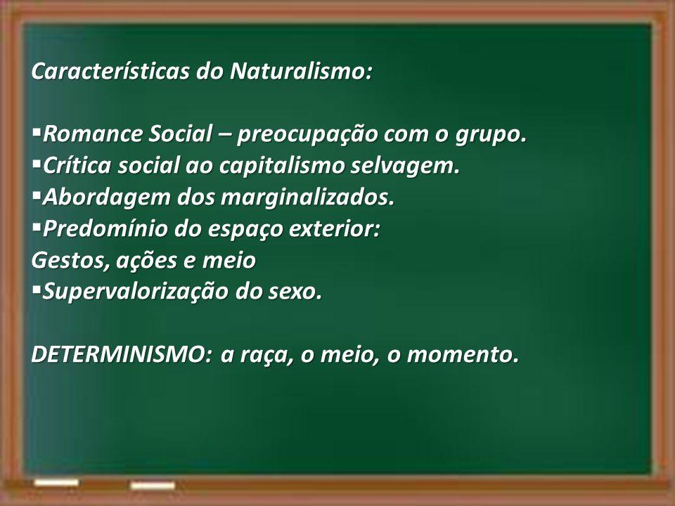 Características do Naturalismo: Romance Social – preocupação com o grupo. Romance Social – preocupação com o grupo. Crítica social ao capitalismo selv